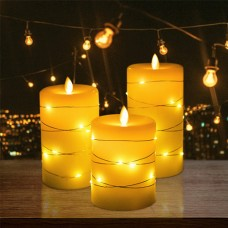 3er LED Flammenlose Kerzenlampe mit Lichterkette Fernbedienung Timer Funktion