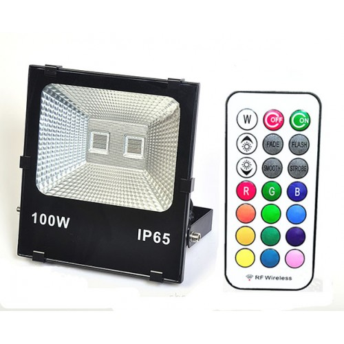 100w ac220v rf rgb led fluter au en strahler mit memory. Black Bedroom Furniture Sets. Home Design Ideas