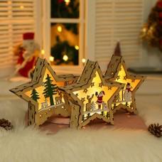18x18cm Klein LED Stern Holzstern Weihnachtsstern für Weihnachtsbaum Christbaumschmuck