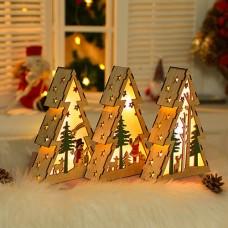 20x14cm Klein LED Nachtlampe aus Holz Weihnachtsbaum beleuchtend Weihnachtsbeleuchtung
