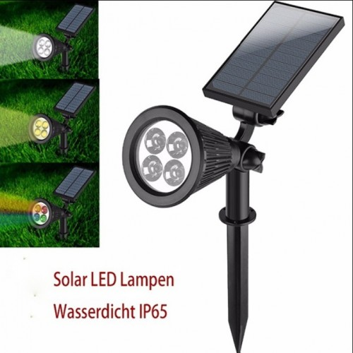2w solar led erdspiessstrahler garten wandlampe warmwei kaltwei auto rgb ip65. Black Bedroom Furniture Sets. Home Design Ideas