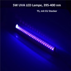 5W AC220V T5 24-LED UV LED Röhre Lampe mit EU Stecker  UVA 395-400nm erweiterbar