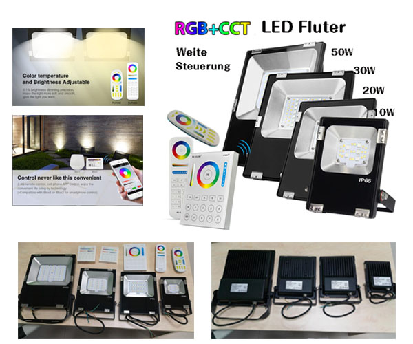 led rgb lichttemperatur dimmbar led fluter ip65. Black Bedroom Furniture Sets. Home Design Ideas
