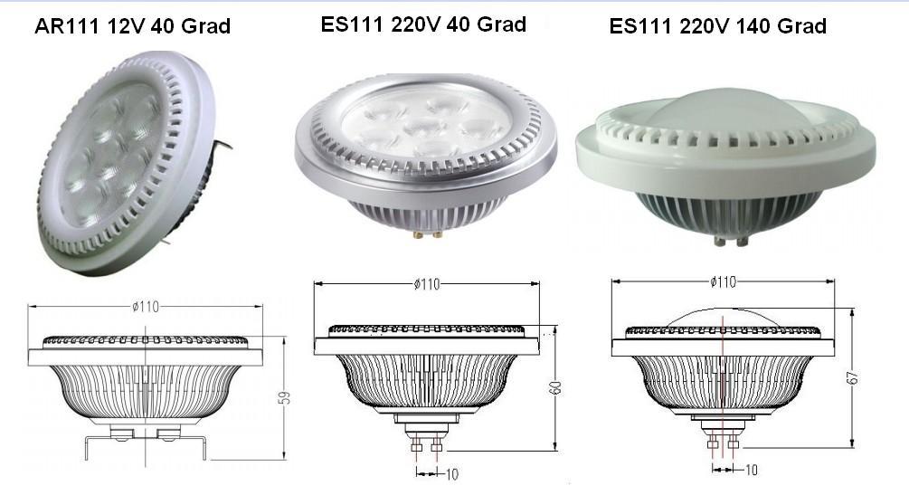 7w 8w 10w es111 ar111 gu10 g53 led lampen strahler bei. Black Bedroom Furniture Sets. Home Design Ideas