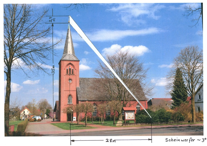 Belechung des Kreuzes auf Kirchturm